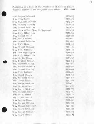 Amherst Island WI Tweedsmuir History, Volume 1 F2 1964-96