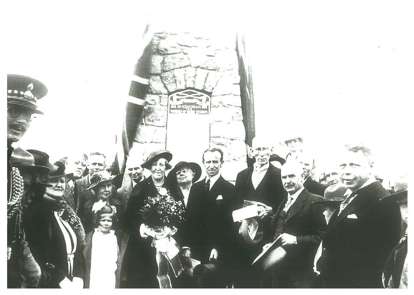 Unveiling of North Easthope Cairn with Lord and Lady Tweedsmuir, 1936