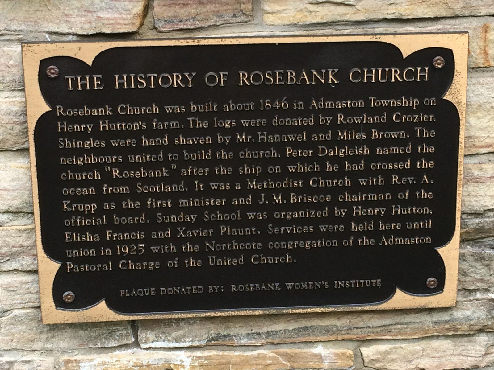 Rosebank W.I. -plaque