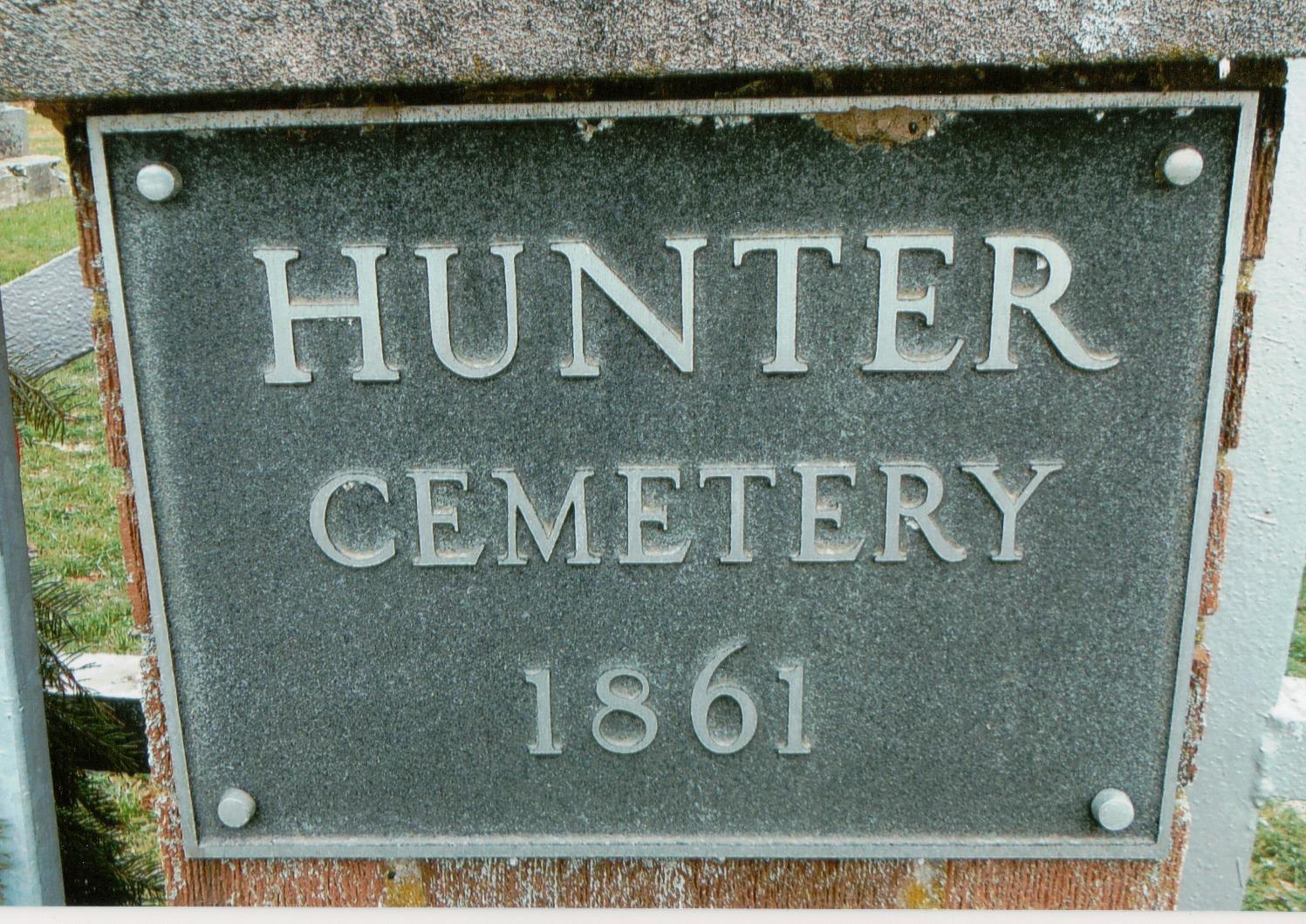 Hunter Cemetery Plaque
