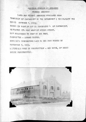 Blackstock WI Tweedsmuir Community History, History of Armouries Building