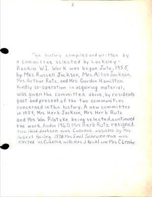 Locksley-Rankin WI Tweedsmuir Community History, Volume 1