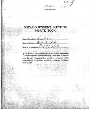 Beatrice WI Minute Book, 1940-43