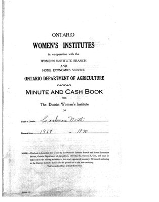 Cochrane District Minute Book, 1968-70