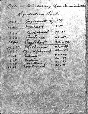 Cochrane-Temiskaming Area Registration Book, 1960-70