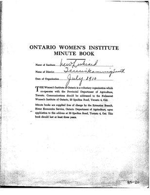 New Liskeard WI Minute Book, 1964-70