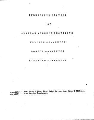 Bealton WI Tweedsmuir Community History, Volume 2