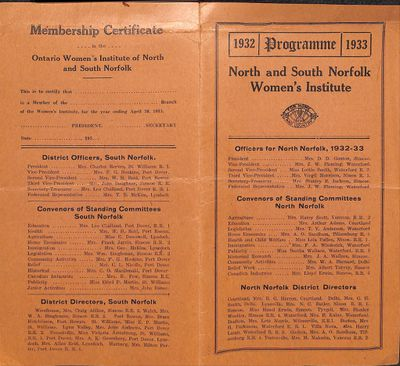 North and South Norfolk Districts WI Programmes, 1932-33