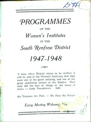 Renfrew South District WI Programs, 1947-48