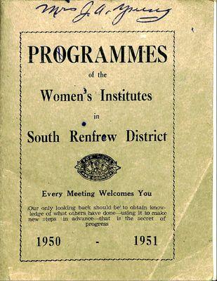 Renfrew South District WI Programs, 1950-51