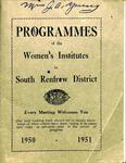 Renfrew South District WI Programs, 1950-51