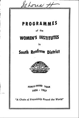 Renfrew South District WI Programs, 1956-57