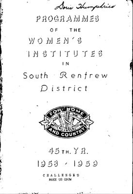 Renfrew South District WI Programs, 1958-59