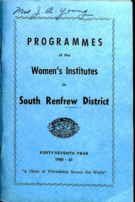 Renfrew South District WI Programs, 1960-61