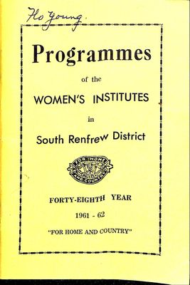 Renfrew South District WI Programs, 1961-62