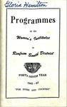 Renfrew South District WI Programs, 1962-63