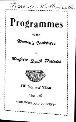 Renfrew South District WI Programs, 1964-65