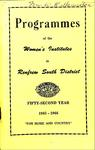 Renfrew South District WI Programs, 1965-66