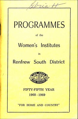 Renfrew South District WI Programs, 1968-69