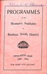 Renfrew South District WI Programs, 1969-70