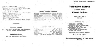 Torbolton WI Program Book 1944-45