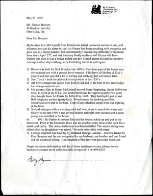 Letter about 45 Rankin Lake Road