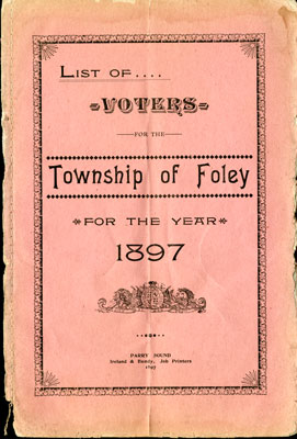 Foley Voters List 1897