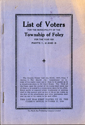 Foley Voters List 1938