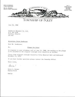 Township Letter to Steve Sanderson