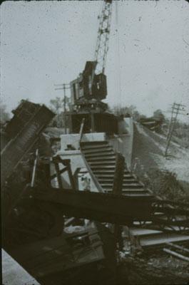 Crane After Wreck on C.N.R. Bridge