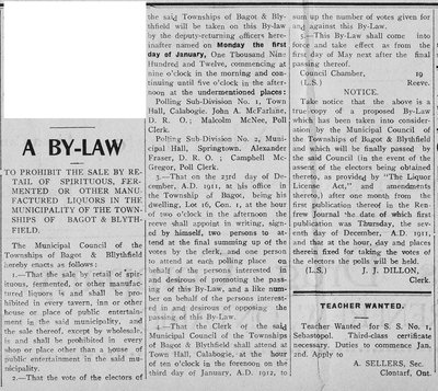 Bagot & Blythfield - By-Law - 1911