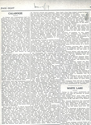 Calabogie News - Mar. 14, 1919