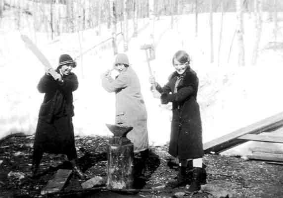 Three women at Ogema Mine (~1926-27)