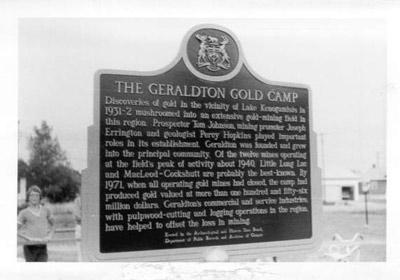 Geraldton Gold Camp Historical Plaque