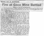 Fire at Geco Mine Battled