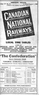 Canadian National Railways Schedule (1929)