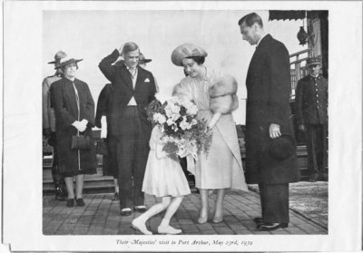 Presentation of flowers to Queen Elizabeth by Joyce Evans during visit to Port Arthur on May 23, 1939