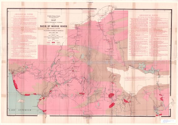 Map showing the geology of the Basin of Moose River and adjacent country : to illustrate Dr. Bell's reports of 1875, 1877, 1881