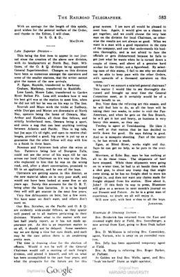 Railroad Telegrapher - Lake Superior Division News 1901