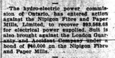 Action against Nipigon Fibre and Paper Mills Limited
