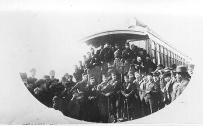 Quebec troops at the railroad station in Port Arthur on their way to the Northwest Rebellion
