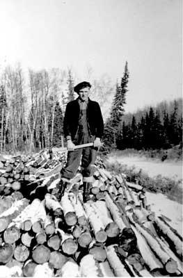 Logs at river's edge