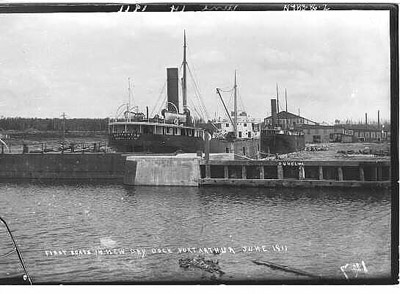 First Boat in New Dry Dock, Port Arthur (1911)