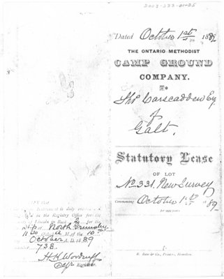 Statutory Lease of Lot 331, October 1889.