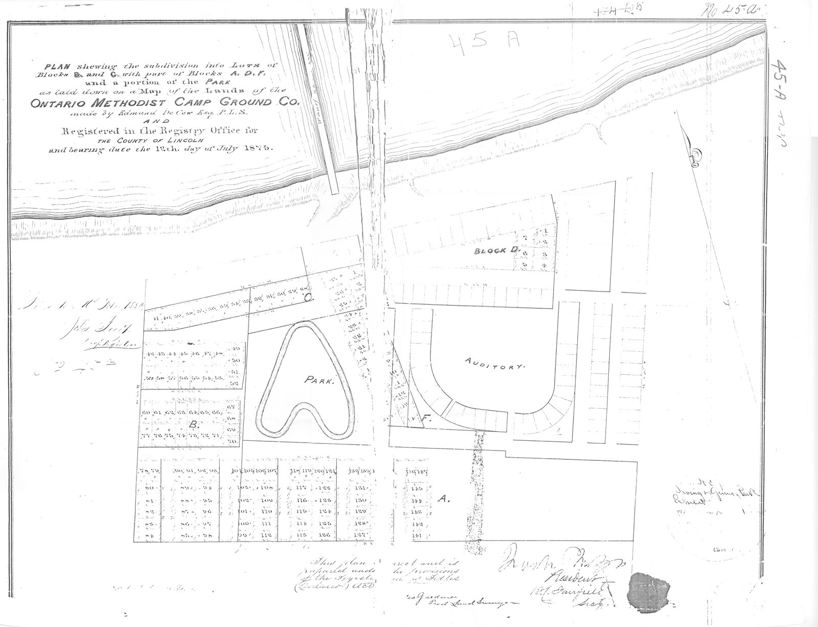 Plan of Ontario Methodist Camp Ground, Blocks B and C, 1875