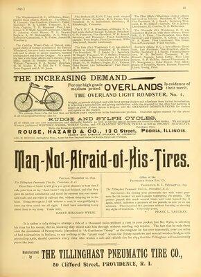 The Tillinghast Pneumatic Tire Co Advertisement