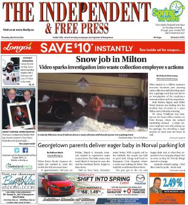 Independent & Free Press (Georgetown, ON), 10 Mar 2016