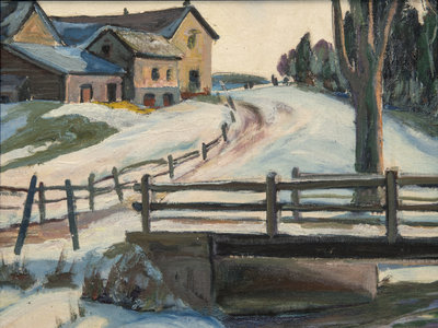 Untitled (Winter Scene with Road)