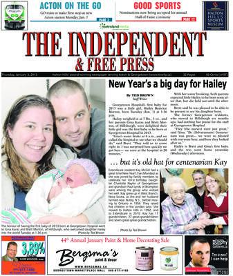 Independent & Free Press (Georgetown, ON), 3 Jan 2013