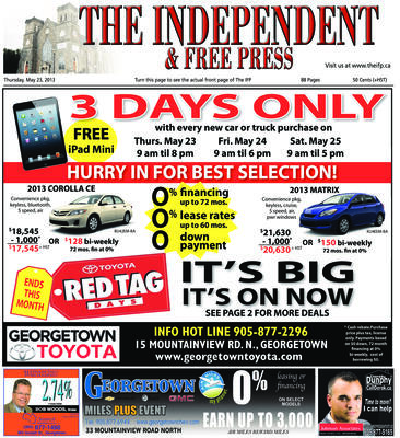 Independent & Free Press (Georgetown, ON), 23 May 2013
